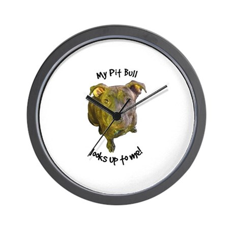 My Pit Bull Looks Up to Me! Wall Clock