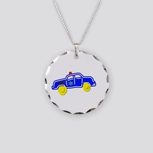 Police Car Necklace Circle Charm