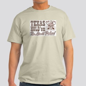 Texas Hold 'em Cowboy Skull Ash Grey T-Shirt