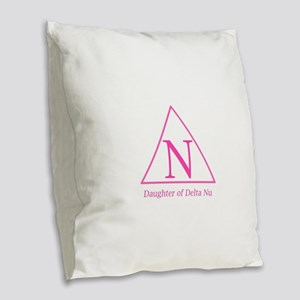 Daughter of Delta Nu Burlap Throw Pillow