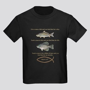 Gone Fishing Christian Style Kids Dark T-Shirt