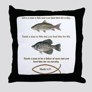 Gone Fishing Christian Style Throw Pillow