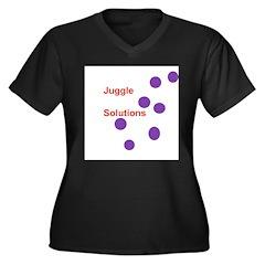 Juggle Solutions Women's Plus Size V-Neck Dark T-S