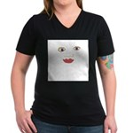 Eyes Nose Mouth Women's V-Neck Dark T-Shirt
