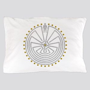 Man In The Maze Medallion Gold Silver Pillow Case