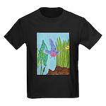 Fish Face (blue) Kids Dark T-Shirt