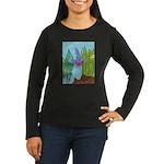 Fish Face (blue) Women's Long Sleeve Dark T-Shirt