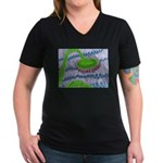 Bent Sunflower (grey) Women's V-Neck Dark T-Shirt