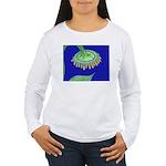 Bent Sunflower (blue) Women's Long Sleeve T-Shirt