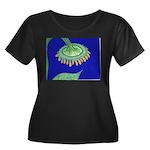 Bent Sunflower (blue) Women's Plus Size Scoop Neck
