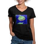 Bent Sunflower (blue) Women's V-Neck Dark T-Shirt