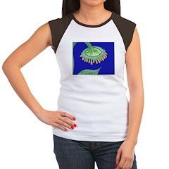 Bent Sunflower (blue) Women's Cap Sleeve T-Shirt