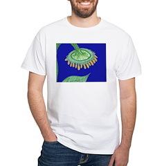 Bent Sunflower (blue) White T-Shirt