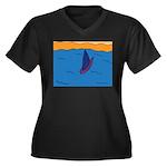 Lone Boat (blue) Women's Plus Size V-Neck Dark T-S