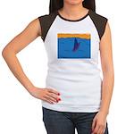 Lone Boat (blue) Women's Cap Sleeve T-Shirt