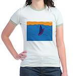 Lone Boat (blue) Jr. Ringer T-Shirt