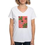 small Botanical (pink) Women's V-Neck T-Shirt