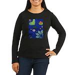 small Botanical (blue) Women's Long Sleeve Dark T-