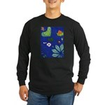 small Botanical (blue) Long Sleeve Dark T-Shirt