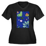 small Botanical (blue) Women's Plus Size V-Neck Da