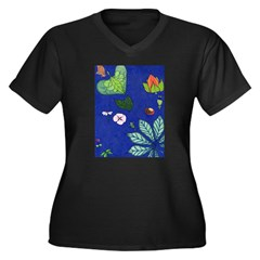 small Botanical (blue) Women's Plus Size V-Neck Da