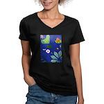 small Botanical (blue) Women's V-Neck Dark T-Shirt
