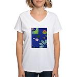 small Botanical (blue) Women's V-Neck T-Shirt