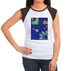 small Botanical (blue) Women's Cap Sleeve T-Shirt