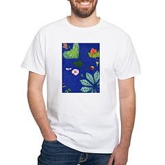 small Botanical (blue) White T-Shirt