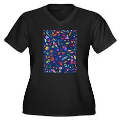 Gift Wrap Women's Plus Size V-Neck Dark T-Shirt