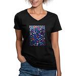Gift Wrap Women's V-Neck Dark T-Shirt