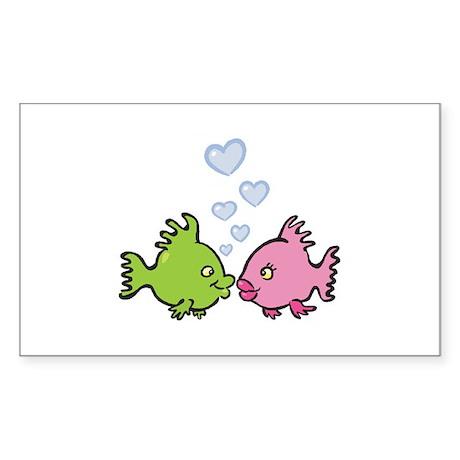Kissy Love Fish Valentine Rectangle Sticker