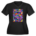 Magic Beans Women's Plus Size V-Neck Dark T-Shirt