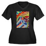 Ginger Jar Women's Plus Size V-Neck Dark T-Shirt