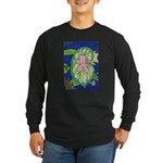 Large Botanical (pink) Long Sleeve Dark T-Shirt