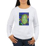 Large Botanical (blue) Women's Long Sleeve T-Shirt