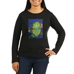 Large Botanical (blue) Women's Long Sleeve Dark T-
