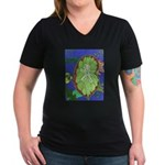 Large Botanical (blue) Women's V-Neck Dark T-Shirt