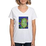 Large Botanical (blue) Women's V-Neck T-Shirt