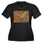 Wild Tree Women's Plus Size V-Neck Dark T-Shirt