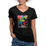 Vegetable Paradise Women's V-Neck Dark T-Shirt