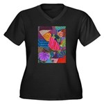Lines Women's Plus Size V-Neck Dark T-Shirt