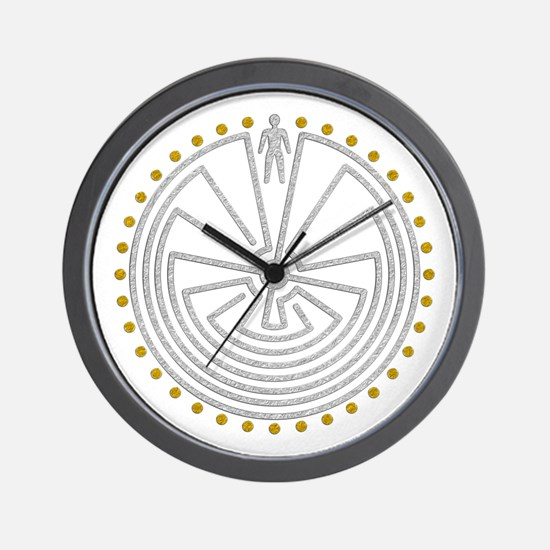 Man In The Maze Medallion Gold Silver Wall Clock