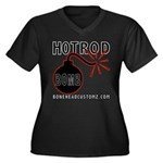 HOT ROD BOMB Women's Plus Size V-Neck Dark T-Shirt