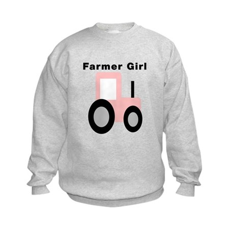 Farmer Girl Pink Tractor Kids Sweatshirt