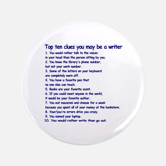 "Writer Clues 3.5"" Button (100 pack)"