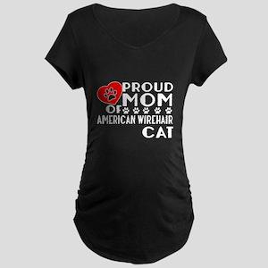 Proud Mom of American Wireh Maternity Dark T-Shirt