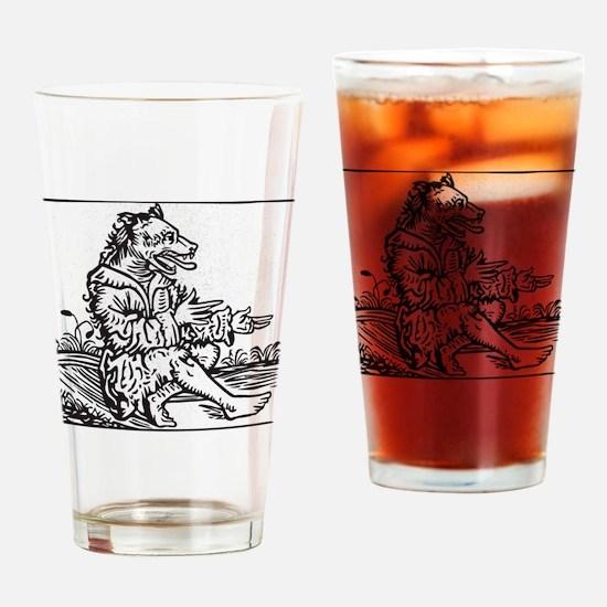 Werewolf Black And White Drinking Glass