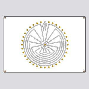 Man In The Maze Medallion Gold Silver Banner