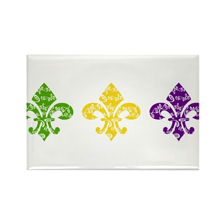 Mardi Fleur Swirl Rectangle Magnet (10 pack)